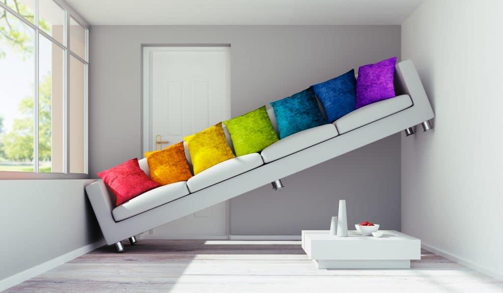 Sofa steht schäg in zu engem Wohnzimmer - Fehlkauf